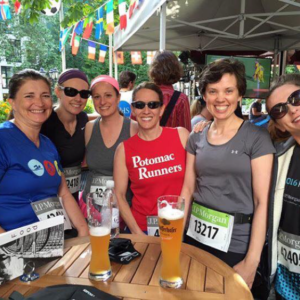 Jenn and friends at the JP Morgan Corporate Challenge in Frankfurt, GERMANY