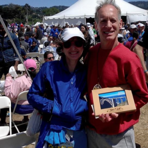 Rebecca and Mark (1st in Age Group) at the Big Sur Marathon in San Jose, California (2016)