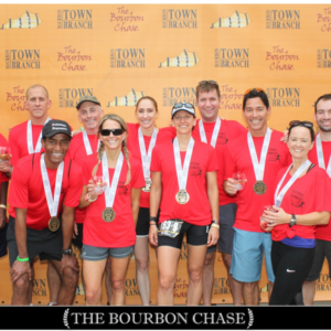 Our winning team at the 2016 Bourbon Chase Ragnar race in Lexington, Kentucky (Thomas, Don, Sage, Dale, Drew, Ephrem, Caroline, Leslie, and friends)